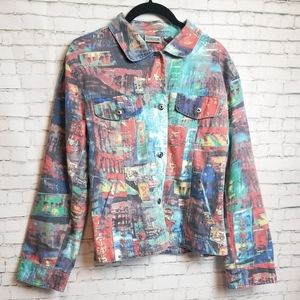 "[VINTAGE] ""Asian City"" print colorful denim jacket"
